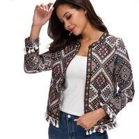 Lusumily 2019 New Arrivals Spring Botanical Jacket Autumn Basic Jacket for Women Multicolor Collarless Elegant Jackets Feminina