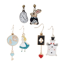 Rabbit Clock Poker Party Cartoon Icon Earrings Alice in Wonderland Stud