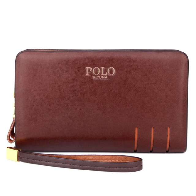 VICUNA POLO New Arrival High Quality Leather Mens Clutch Wallet Brand Men Purse Big Capacity Brown/Black Leather Clutch Bag