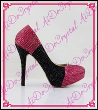 Aidocrystal Mix Color Pink and Black Customized Crystal High Heels Closed-toe Pumps 14CM Party Platform Shoes Size 11