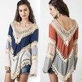2 Cor Mulheres Crochet Knit Blusa de Manga Comprida praia vestido de Verão Encabeça Mulheres Blusas Femininas Camisa oversize
