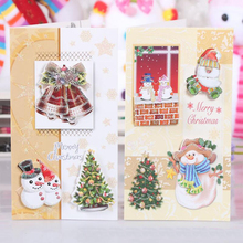 цена на 8 Pcs/lot Flash Gold Powder Christmas Gift blessing Card Paper Handmade Merry Christmas Greeting Cards