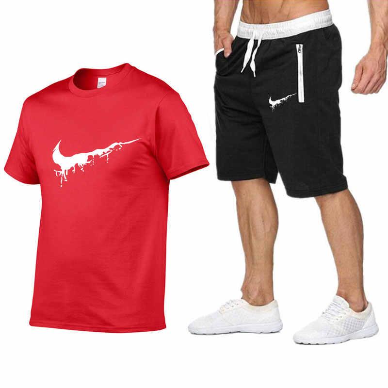2019 новые мужские модные комплекты из двух предметов футболки + шорты костюм мужские летние топы футболки Модная Футболка Высокое качество Мужская одежда