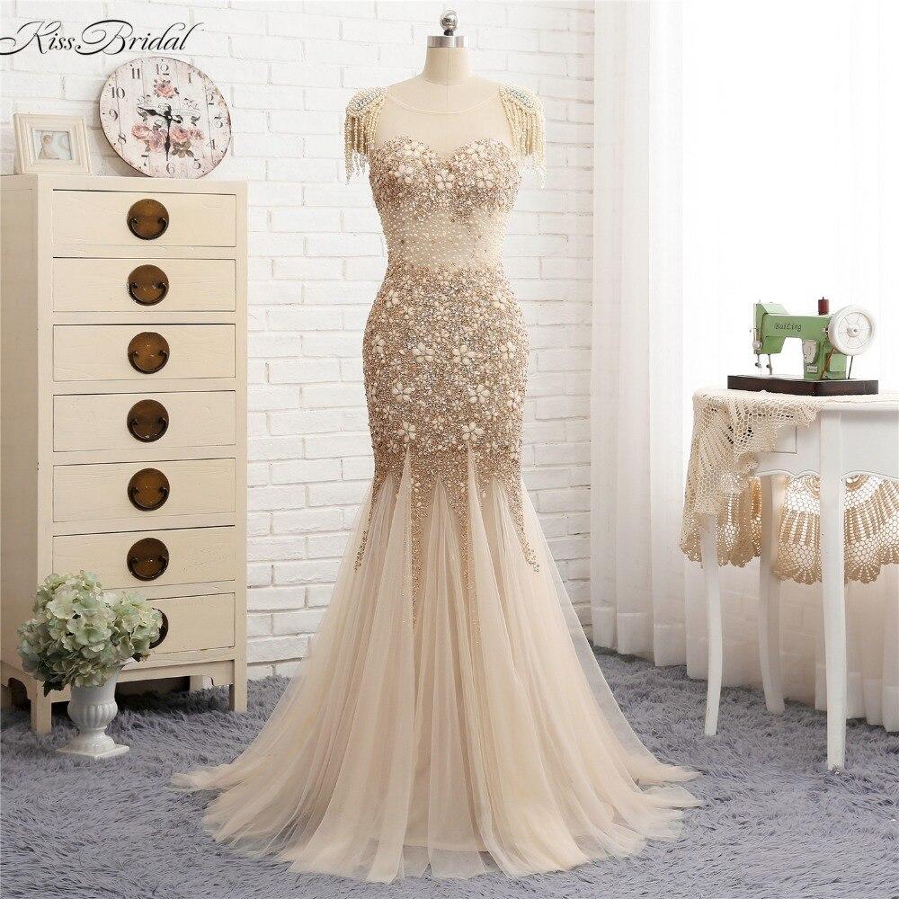 New Beautiful Tulle Evening Dresses Long 2018 Backless Beaded Stones Luxury Prom Dress Mermaid