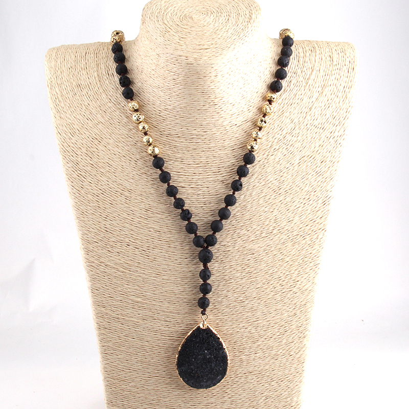 Lava Stones and Black Lava Necklace