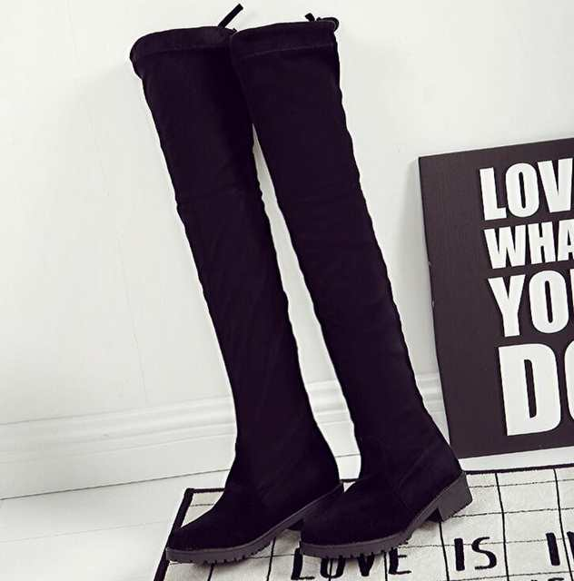 21e2c50e143 placeholder EFFGT Women shoes New Over The Knee Thigh High Black Boots  Women Motorcycle Flats Long Boots