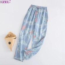 Женские штаны для сна,, марля, хлопок, цветочный принт, сетка, полоса, различные стили, штаны для сна, Мягкие штаны, домашняя одежда