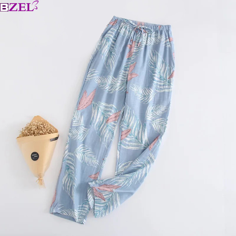 Ladies Sleeping Pants 100% Gauze Cotton Floral Print Grid Stripe Variety Styles Sleep Bottoms Trousers Soft Pants Household Wear
