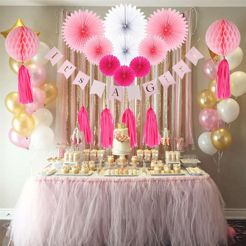 Home Garden 10x Pink Paper Pom Poms Lanterns Girl 1st Birthday Party Baby Shower Decoration Venue Decorations