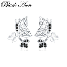 купить [BLACK AWN] Natural Butterfly 925 Sterling Silver Jewelry Stud Earrings for Women Vintage Boucle D'oreille  I123 дешево