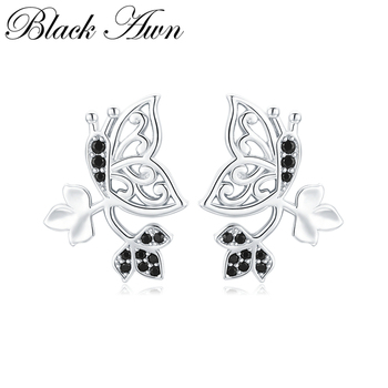 [BLACK AWN] Natural Butterfly 925 Sterling Silver Jewelry Stud Earrings for Women Vintage Boucle Doreille  I123