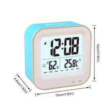 LED Alarm Clock Touch Control Smart Alarm Humidity Reading Date Display Snooze Rechargeable Clock