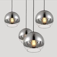 LuKLoy nowoczesny wisiorek światła srebrny wisząca lampa szklana kula kuchni wyspa wiszące lampy Loft lampki nocne zawieszenie oprawy oświetleniowe w Wiszące lampki od Lampy i oświetlenie na