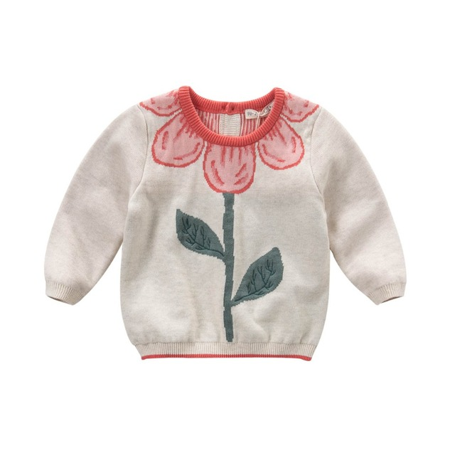 DB4013-B dave bella otoño baby girl diseño dulce flor suéter jacquard interlock