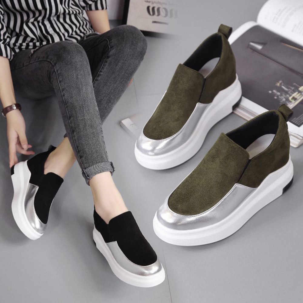 33c92403540e Fashion Women Sneakers Platform Leather Flats Patchwork Casual Shoes Wedges  Loafers anti-slip comfortable sliped