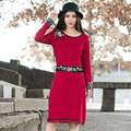 Autumn Winter Fashion Women Knitted Dress Elegant Bodycon Dresses Casual Long-sleeved Wine Red Loose Cotton Dress Vestidos