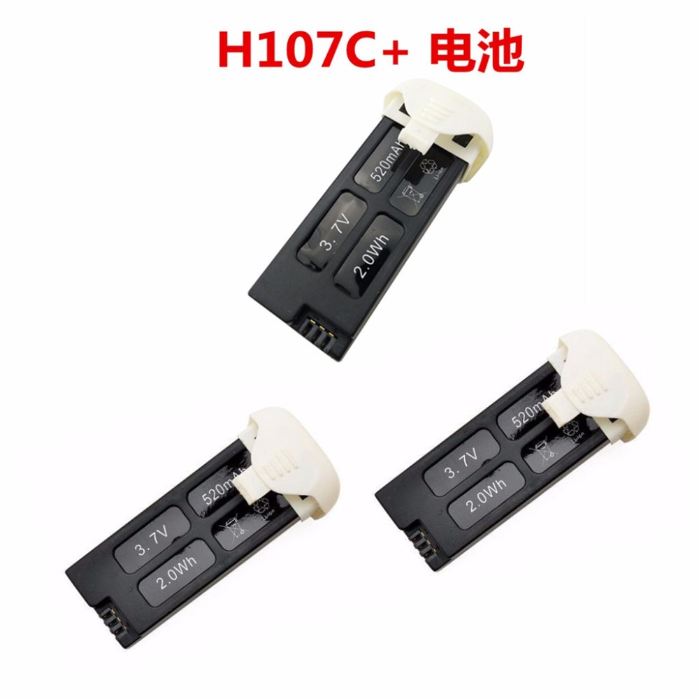 Quadrocopter <font><b>Battery</b></font> UAV Accessories <font><b>Battery</b></font> <font><b>3.7V</b></font> <font><b>520mah</b></font> 3PCS Hubsan X4 H107C + image