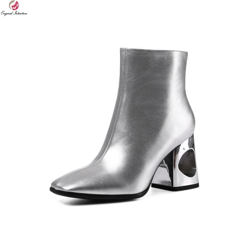 Original Intention Stylish Women Ankle Boots Fashion Square Toe Square Heels Boots Cool Black Silver Shoes Woman US Size 4-9 юбка cool woman square qz601 2015