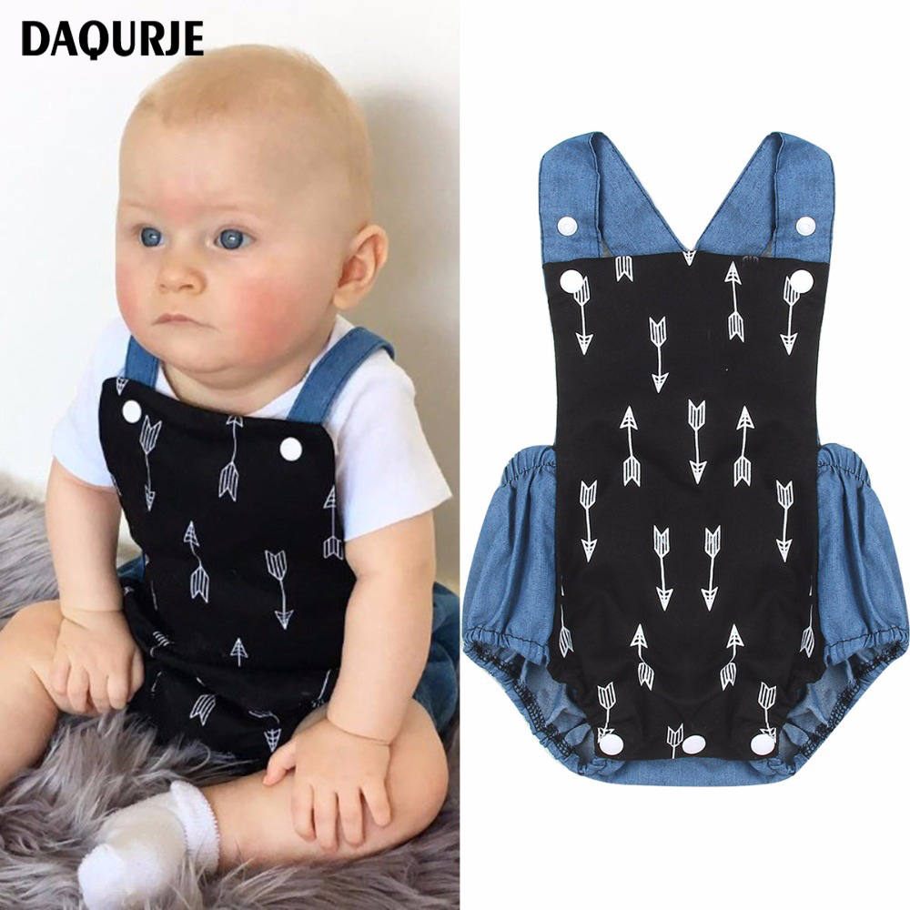Newborn Baby Boy Clothes Summer Bodysuit Baby Clothing Denim Arrow Pattern Jumpsuit Toddler Boys Costume For Baby Onesie 2017 babies girl clothing whilte sleeveless suit newborn toddler baby girls arrow bodysuit jumpsuit outfit clothes 0 24m