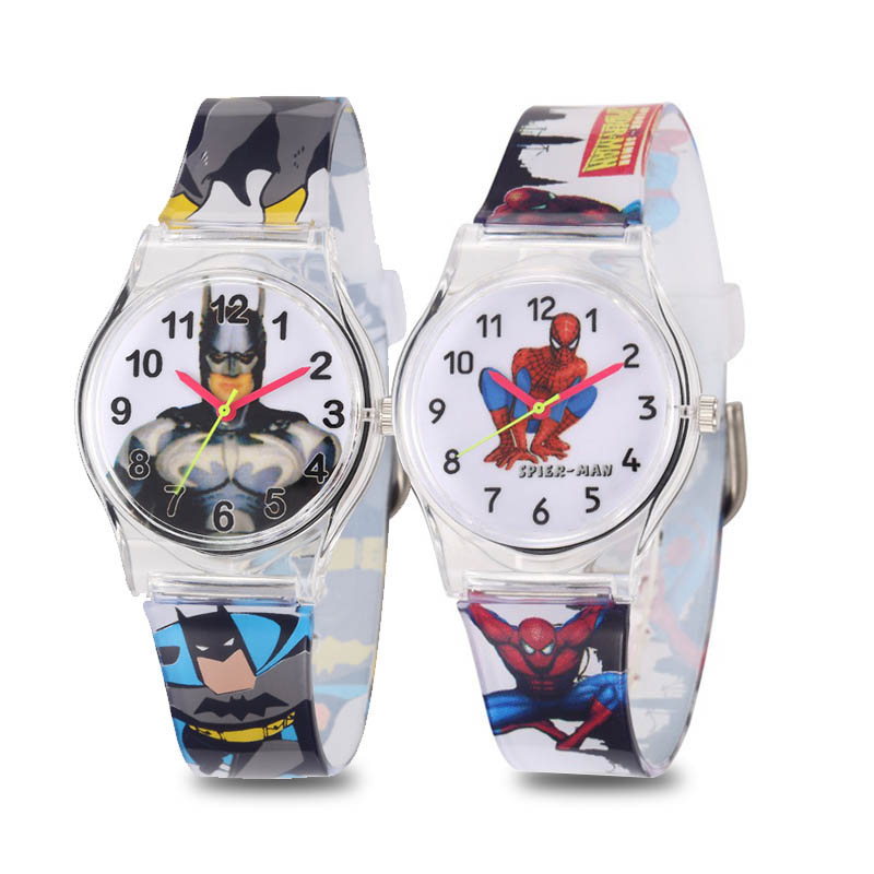Children Gift Batman Spider Man Wristwatch Kids Sport Watch Student Clock Rubber Boys Girls Kids Toy Quartz Watches Kids Gift
