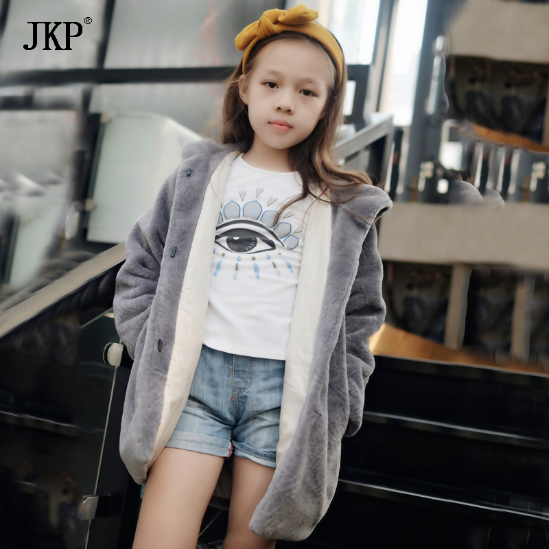 JKP 2018 The latest winter warm real sheepskin girl coat fashion jackets for girls children's fur outerwear hooded coats CT-35 sheepskin coat ad milano sheepskin coat