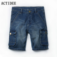 ACTIDEE 2017 Summer Cargo Elastic Pockets Short Jeans Pants Men Casual Trousers Stretch Pants Free Shipping