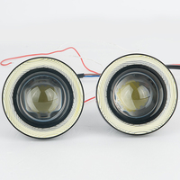 2pcs Waterproof Projector LED Fog Light With Lens Halo Angel Eyes Rings COB 30W Xenon White