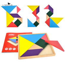 купить lagopus Wooden Toys Tangram 7 Piece Jigsaw Puzzle Colorful Square IQ Game Brain Teaser Intelligent Educational Toy Gift for Kids дешево