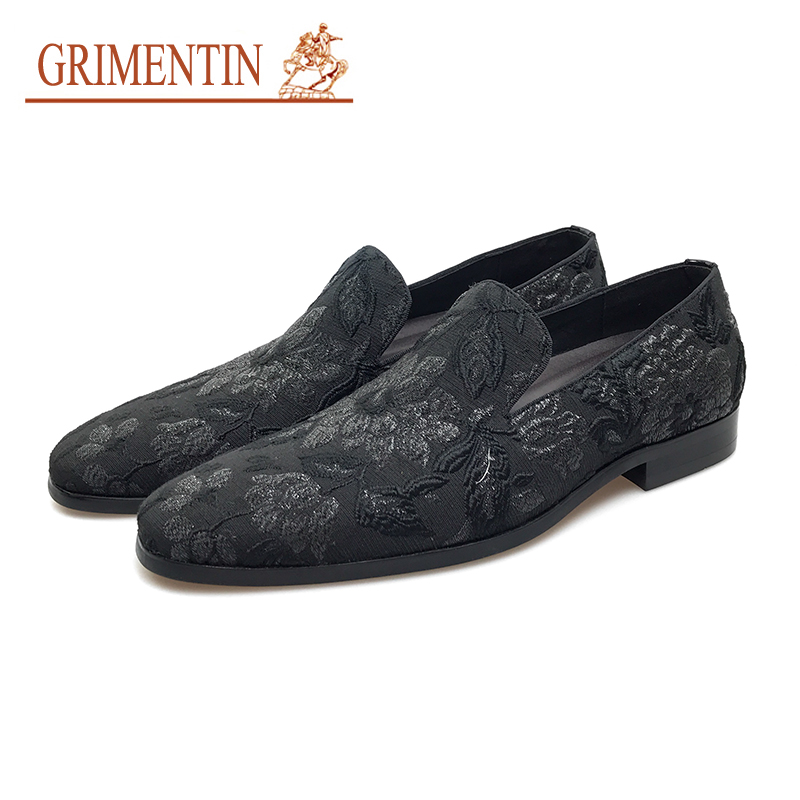 GRIMENTIN italian fashion casual shoes men 2019 slip on black men formale shoes