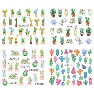 Image 4 - 12 шт. зимние слайдер для ногтей Водные Наклейки кактус Фламинго прикольный геккон Ананас Дизайн ногтей маникюр декор наклейки Советы CHBN1261 1272