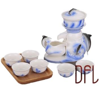 New 9PCS Automatic Enamel Tea Set Gaiwan Pot Cup Chinese Kung Fu Drinkware Creative 3D Dolphin Teaset