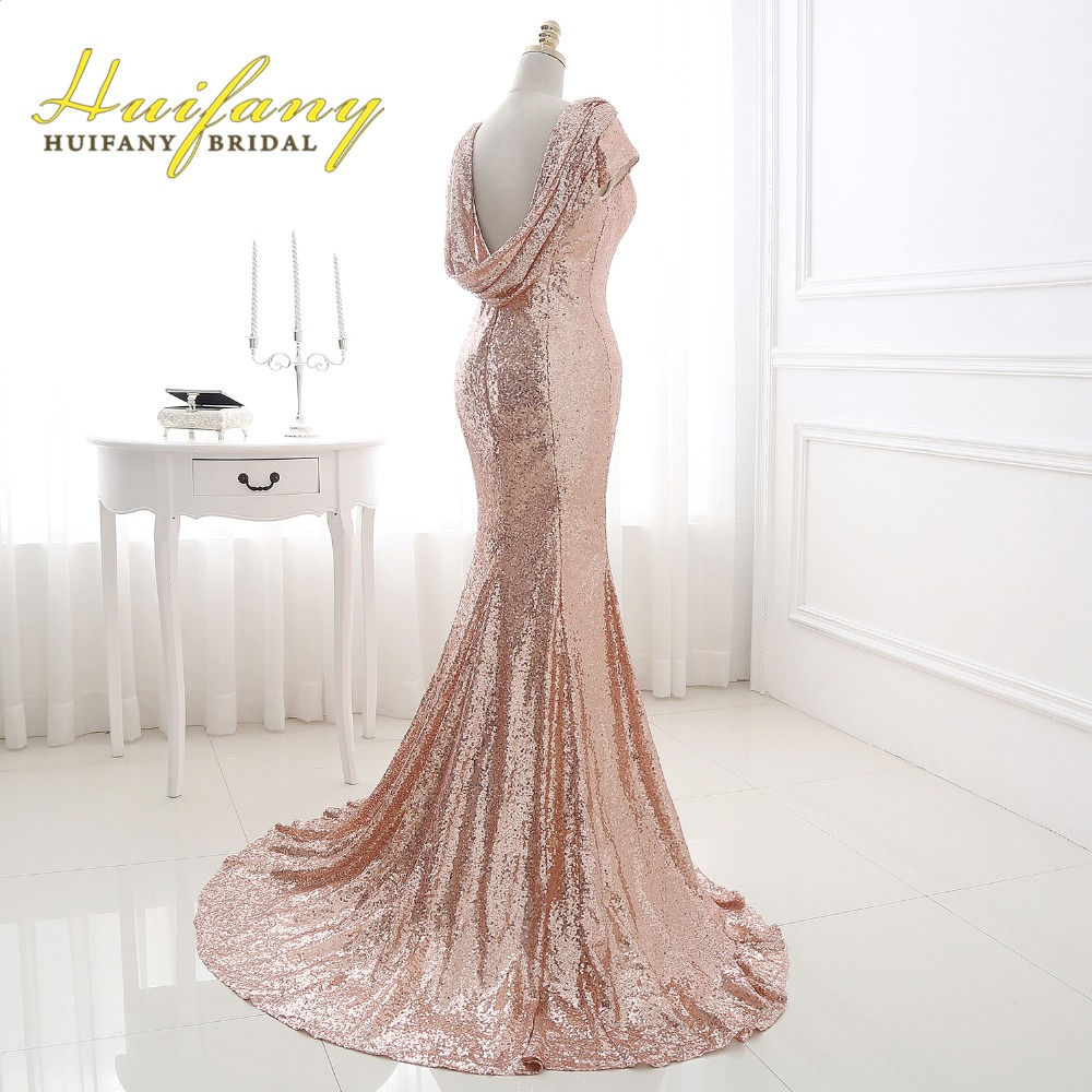 Huifany rose gold sequins bridesmaid dresses real cap sleeves low huifany rose gold sequins bridesmaid dresses real cap sleeves low back mermaid maid of honor dress plus size wedding party dress in bridesmaid dresses from ombrellifo Gallery