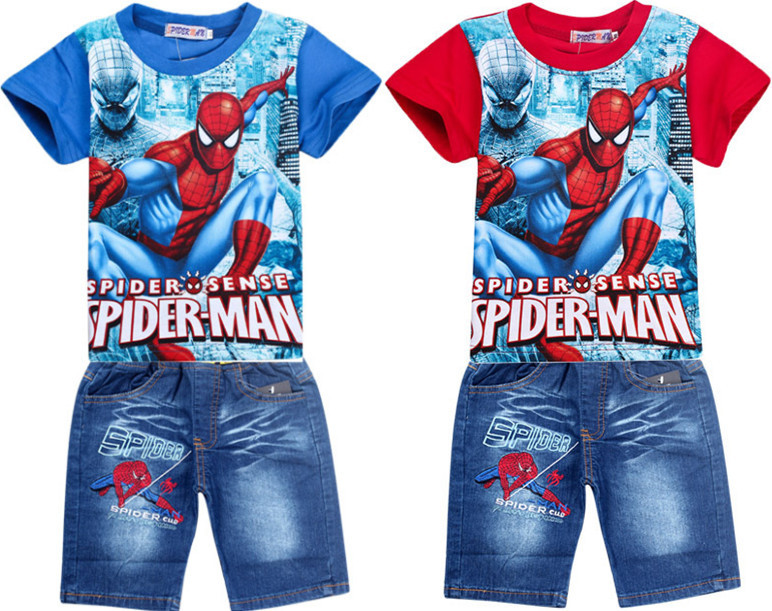 54a3e977778 Retail spiderman children clothing set 2pcs boys sets cartoon summer kids  pants shirt set baby boy jeans shorts suit-in Clothing Sets from Mother    Kids on ...