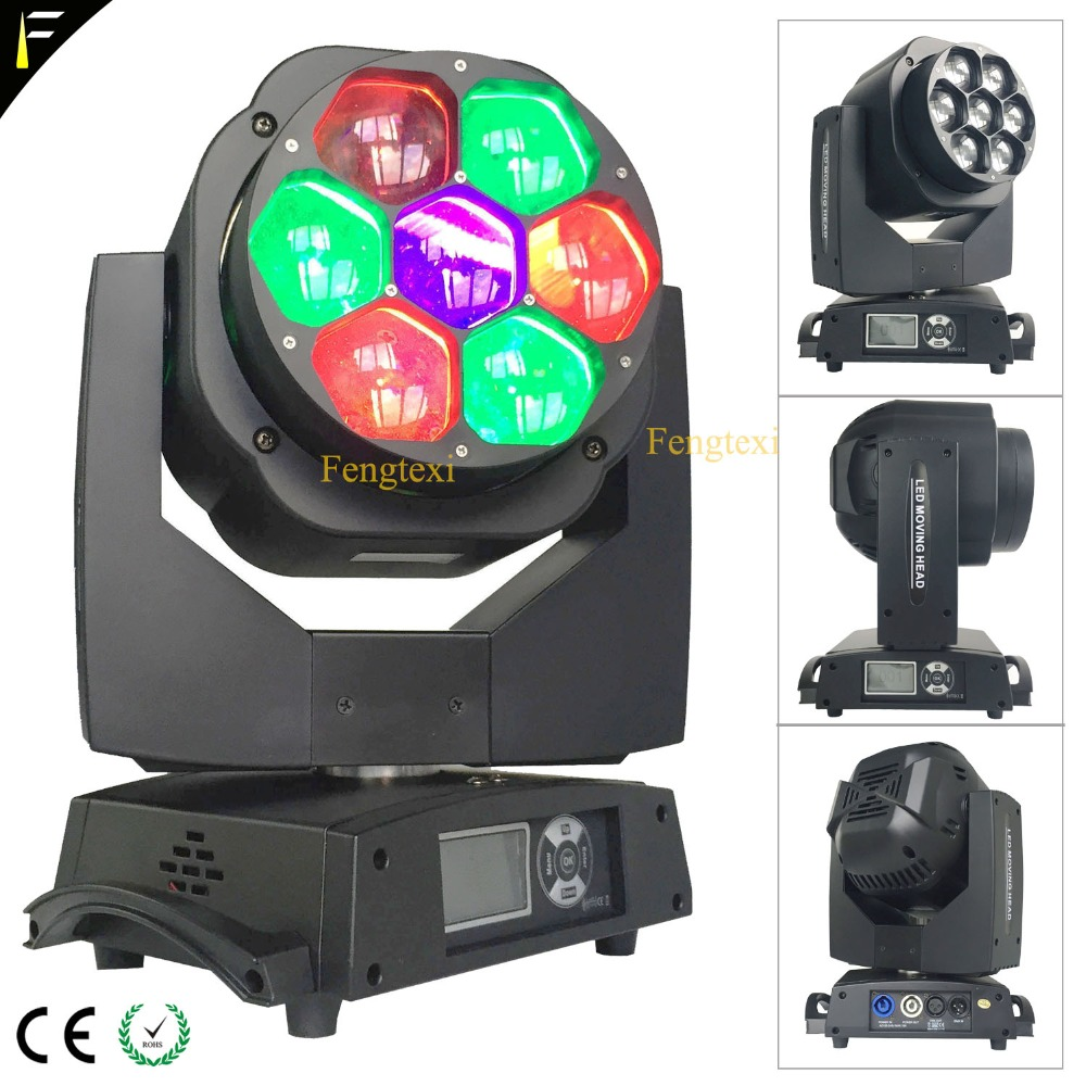 Led Zoom Bee Eye Moving Head Light 7x15W RGBW 4in1 Specialty Stage Light 4-60 degree Zoom DMX512 Disco DJ's Beam Wash Effect цена