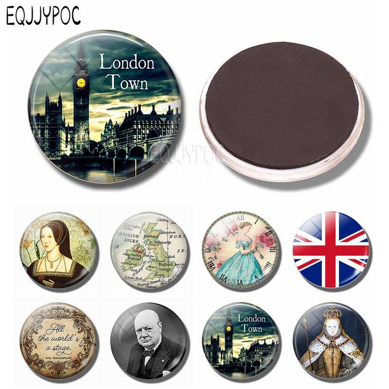 England Big Ben Fridge Magnet British London Souvenir United Kingdom Flag Map Elizabeth Churchill 30MM Glass Refrigerator Magnet