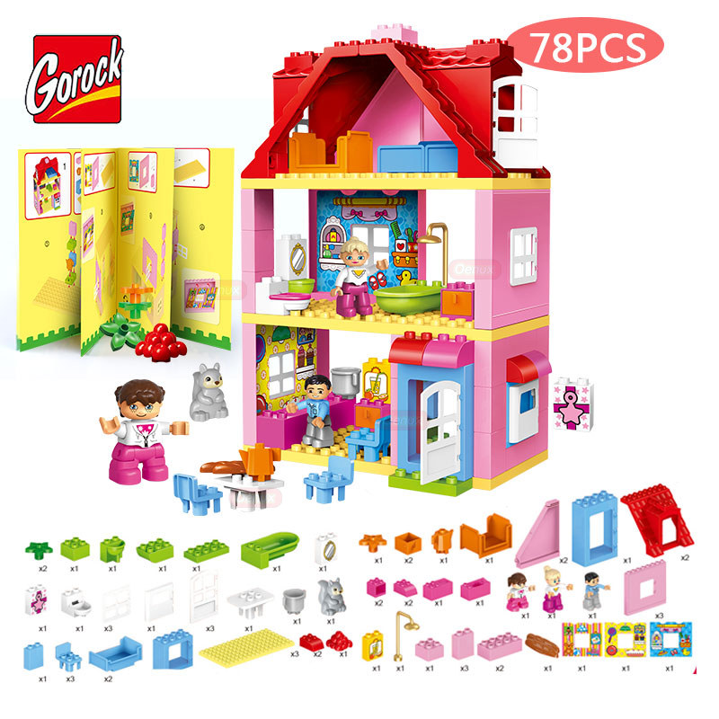 GOROCK 78PCS/SET Pink Dream Girl's Villa Model Large Particles Building Blocks Girls Friends Figures Brick Toy Compatible Duplo kid s home toys large particles happy farm animals paradise model building blocks large size diy brick toy compatible with duplo