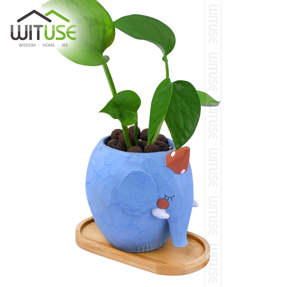 Image 3 - WITUSE Ceramic Flowerpot Bamboo Stand Indoor Fern Succulent Plant Holders Saucers Desktop Bonsai Pot Bamboo Flower Planters Tray-in Flower Pots & Planters from Home & Garden
