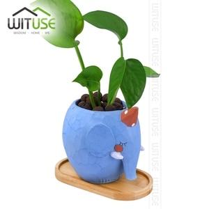 Image 3 - WITUSE maceta de cerámica con soporte de bambú para plantas suculentas, soporte para plantas de interior, platillos, bonsái, maceta de escritorio, bandeja para plantas de Bambú