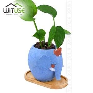 Image 3 - Wituse Keramische Bloempot Bamboe Stand Indoor Fern Vetplant Houders Schoteltjes Desktop Bonsai Pot Bamboe Plantenbakken Lade