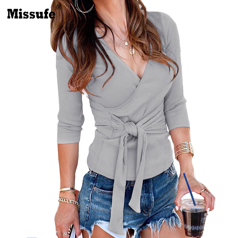 Missufe Knitted Slim Female Tops Blusas Streetwear Sexy V Neck Autumn Blouse Cross Strap B