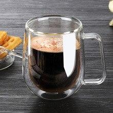 Жаропрочный двойной графинчик кофе кружка офис завтрак кубок пивной стакан Пить стакан прозрачная термо кружки термос Высокое качество