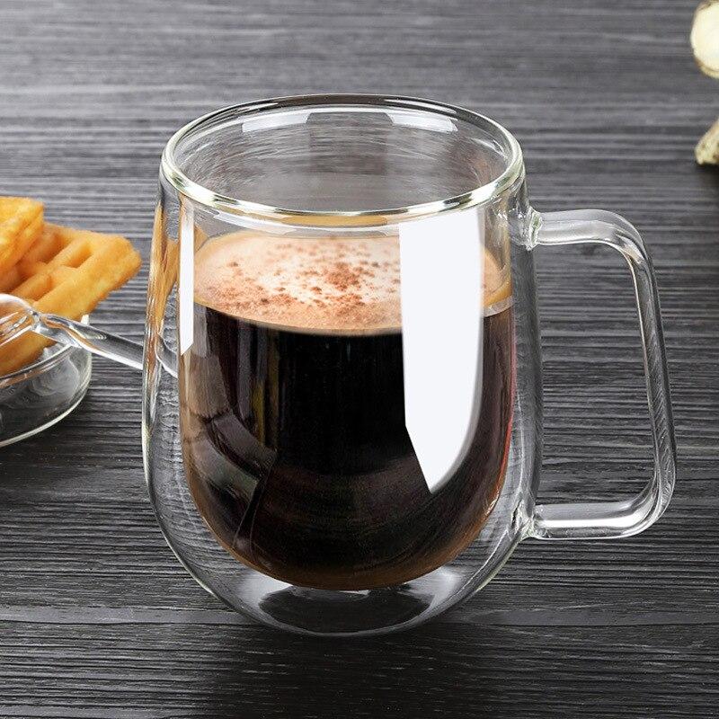 Résistant à la chaleur double verre tasses à café Ensemble thé tasses Main Creative Bière Boire une Tasse de bureau Tasse Transparent verres De Haute