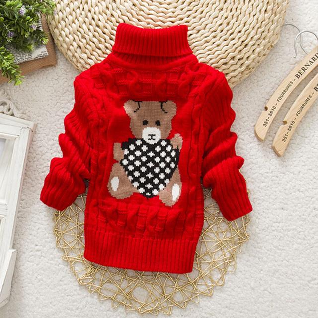 Autumn Winter Baby Girls Boys Sweater Pullover Cartoon Cute Bear Sweaters Knitwear Children Clothes Kids Turtleneck Outerwear