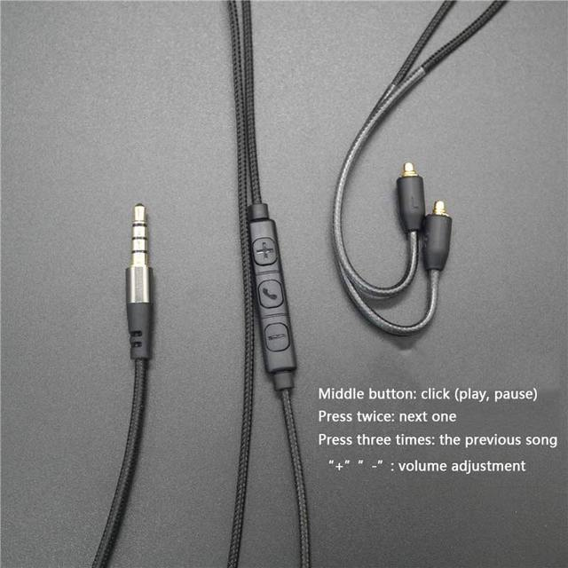 Обновленный кабель MMCX с микрофоном для Shure SE215 SE535 SE846 SE425, наушники с проводом для iPhone, Android, IOS