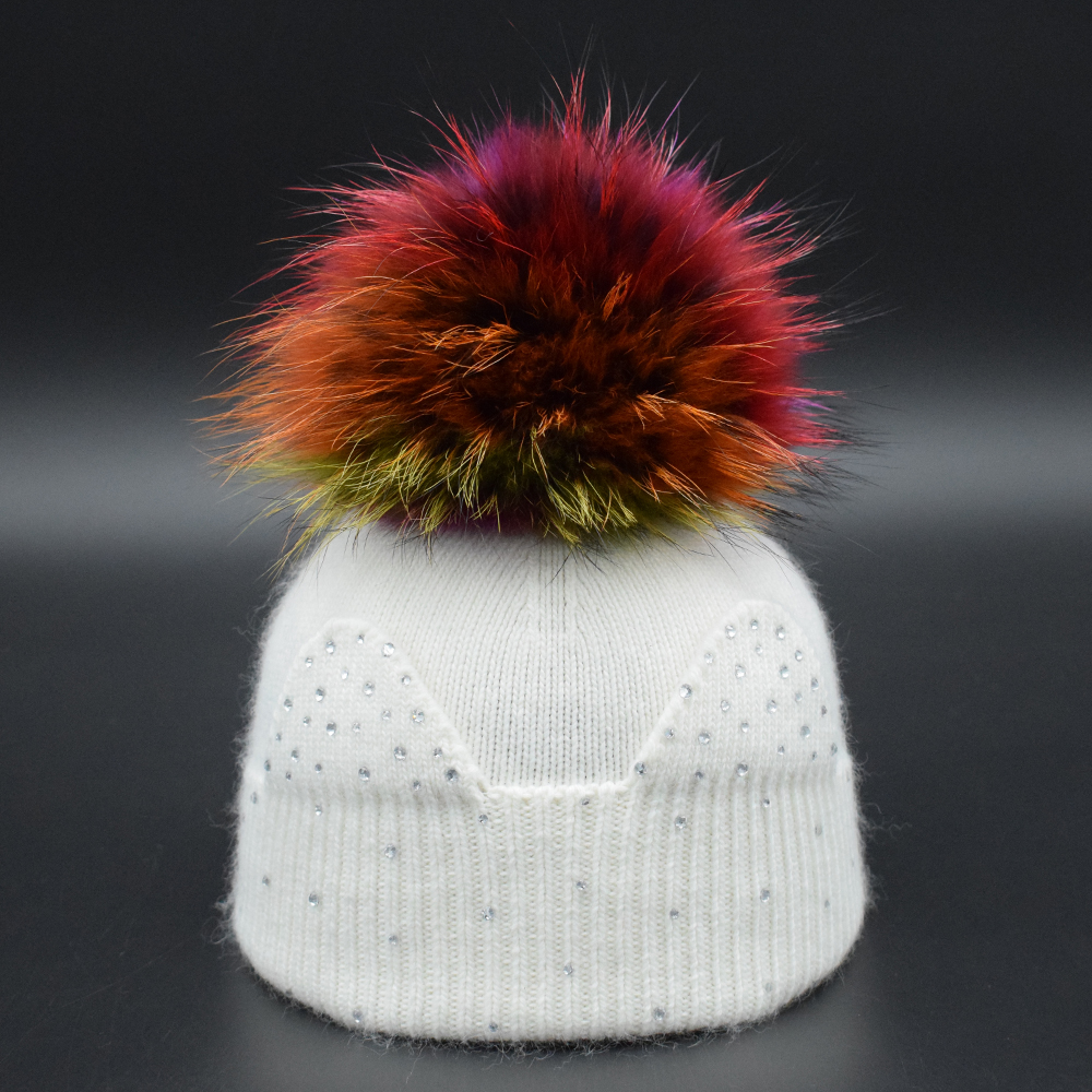 Winter Baby Wool hat Big Raccoon fur Pompom kids Beanies Hat winter Cap For Children Luxury rhinestone cut ears Girls knit hat new autumn winter warm children fur hat women parent child real raccoon hat with two tails mongolia fur hat cute round hat cap