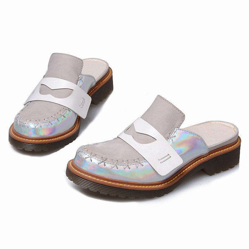 Prova Perfetto Brand Name 2018 New Arrival Summer Slipper Color Match Trend Students Sweet Style Slip On Shoe Real Leather Shoe