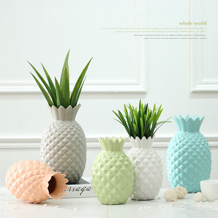 New Decorative Ceramic Pineapple Flower Vases For Homes Colorful