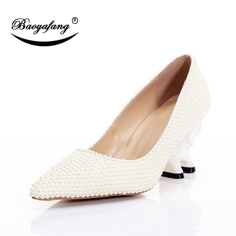 BaoYaFang New Ivory Pearl Wedding shoes Woman strange style Elephant heel Girls Performance shoes Ladies party shoes sweet heel ivory fashion lace flowers flat heel wedding shoes woman pearls ankle beading beaded anklet sweet flower girls bridesmaid shoes