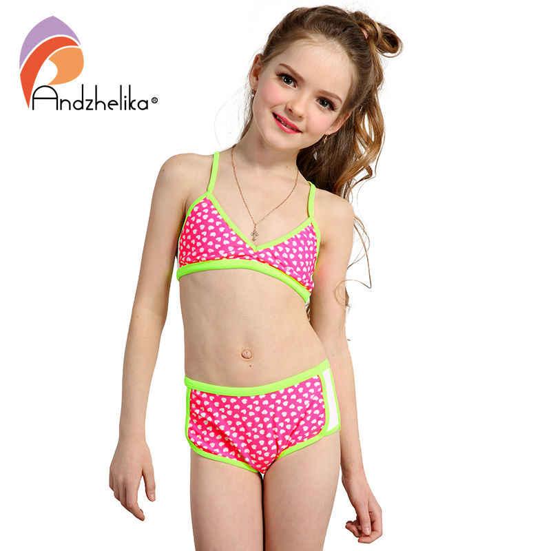 64ae035f1c ... Andzhelika Swimsuit Girl's Bikini Cute Heart Swimwear Summer Child  Patchwork Swim Suit Children Sport Bikini Set ...