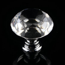 1 pc 2017 New 30mm Diamond Clear Crystal Glass Door Pull Drawer Cabinet Furniture Accessory Handle Knob Screw Hot Worldwide